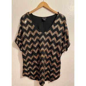 Torrid Gold Zig Zag Sequined Black Top